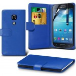 (Bleu) Samsung Galaxy S4 Mini i9190 imitation crédit / carte de débit en cuir Style Livre Wallet peau cas Couvercle rétractable Écran tactile Pen & protecteur d'écran par * Aventus *