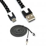 iKKEGOL Câble d'alimentation/synchronisation Micro USB plat tressé pour Android HTC/Samsung S3 S4 Noir 3 m